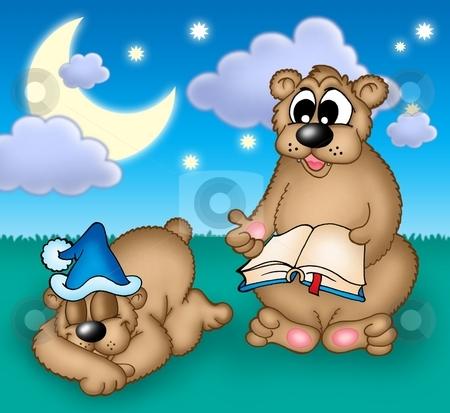 Bears family stock photo, Two bears under evening sky - color illustration. by Klara Viskova