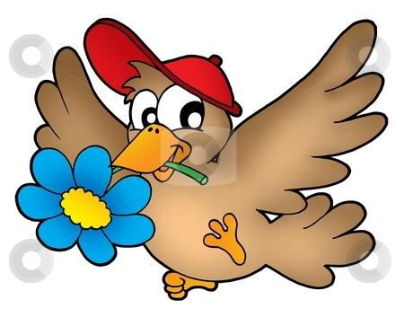 Bird with flower stock photo, Bird with flower - color illustration. by Klara Viskova