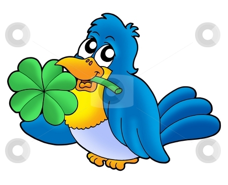 Bird with four leaves clover stock photo, Bird with four leaves clover - color illustration. by Klara Viskova