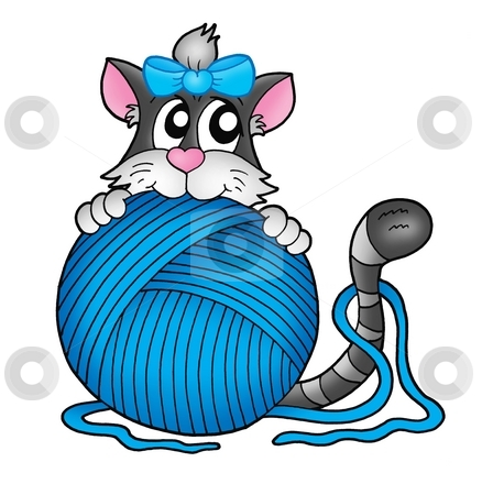 Cat with blue skein stock photo, Gray cat with blue skein - color illustration. by Klara Viskova