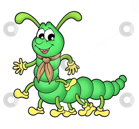Centipede stock photo, Collor illustration of green centipede. by Klara Viskova