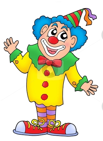 Clown stock photo, Clown in colorful outfit - color illustration. by Klara Viskova