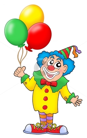 Clown with balloons stock photo, Clown with colorful balloons - color illustration. by Klara Viskova