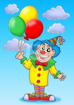 Clown with balloons on blue sky stock photo, Clown with balloons on blue sky - color illustration. by Klara Viskova