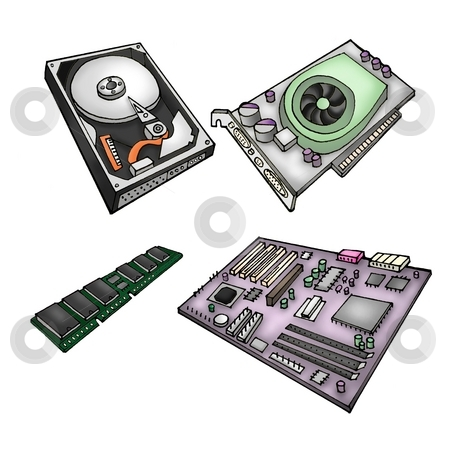 Computer parts stock photo, Color illustration of computer parts - harddrive, graphics card, memory module, motherboard. by Klara Viskova
