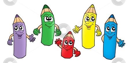 Crayons 1 stock photo, Color illustration of five color crayons. by Klara Viskova