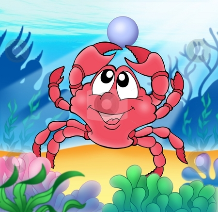 Cute crab with pearl stock photo, Cute crab with pearl - color illustration. by Klara Viskova
