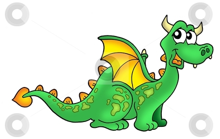 Cute dragon stock photo, Color illustration of cute green dragon by Klara Viskova