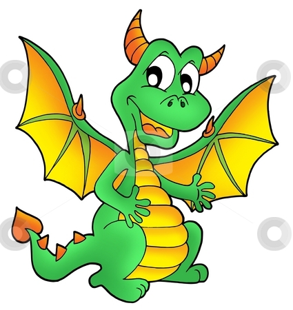 Cute green dragon stock photo, Cute green dragon - color illustration. by Klara Viskova