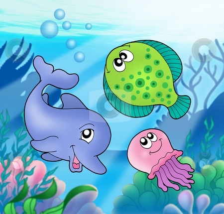 Cute marine animals stock photo, Cute marine animals - color illustration. by Klara Viskova