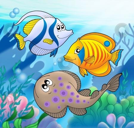 Cute marine animals 2 stock photo, Cute marine animals 2 - color illustration. by Klara Viskova