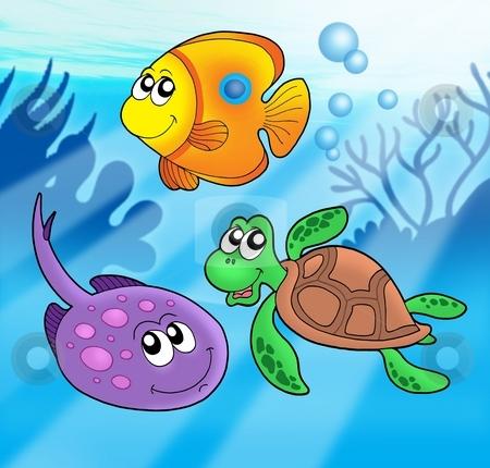 Cute marine animals 3 stock photo, Cute marine animals 3 - color illustration. by Klara Viskova