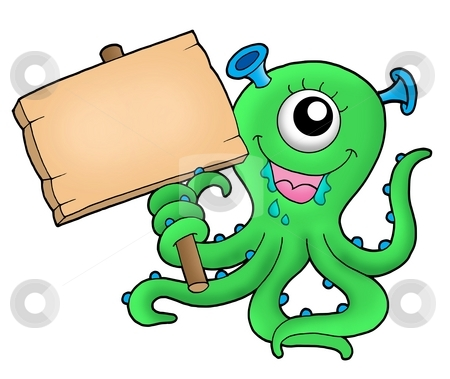 Cute monster with wooden sign stock photo, Cute monster with wooden sign - color illustration. by Klara Viskova