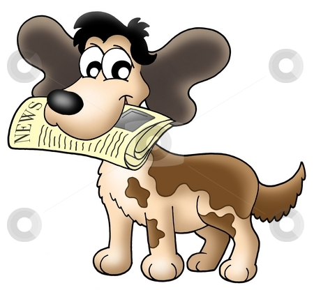 Dog with news stock photo, Color illustration of dog with newspaper. by Klara Viskova