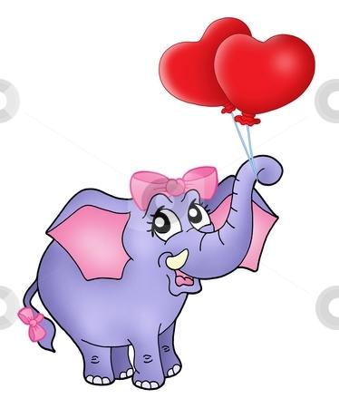 Elephant girl with heart balloons stock photo, Color illustration of elephant girl with heart balloons. by Klara Viskova