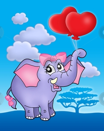 Elephant girl with heart balloons on blue sky stock photo, Color illustration of elephant girl with heart balloons on blue sky. by Klara Viskova