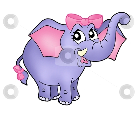 Elephant girl with pink ribbon stock photo, Color illustration of elephant girl with blue ribbon. by Klara Viskova
