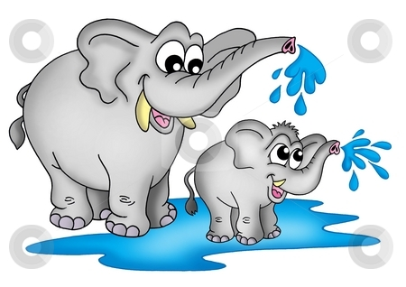 Elephants stock photo, Illustration of two elephants. One small a one big standing in water and playing. by Klara Viskova