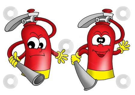 Extinguishers stock photo, Two extinguishers - color illustration. by Klara Viskova
