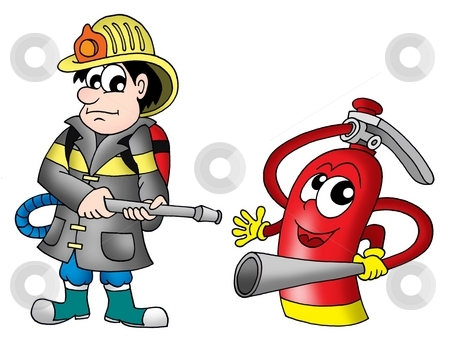 Fireman and fire extinguisher stock photo, Fireman and fire extinguisher - color illustration. by Klara Viskova