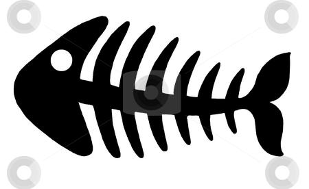 Fishbone 2 stock photo, Illustration of black fishbone on white background. by Klara Viskova