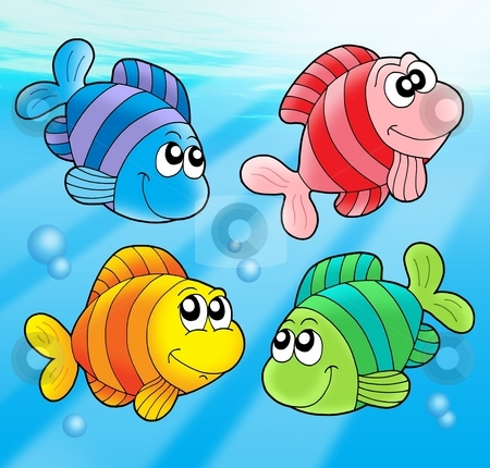 Four cute fishes stock photo, Four cute fishes - color illustration. by Klara Viskova