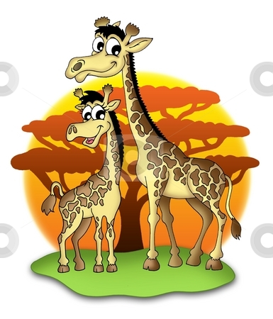 Giraffes stock photo, Two smiling giraffes - color illustration. by Klara Viskova