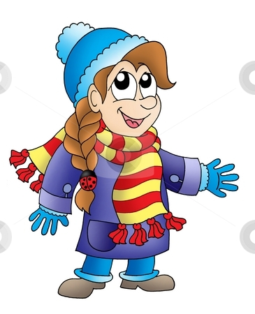 Girl in winter outfit stock photo, Girl in winter outfit - color illustration. by Klara Viskova