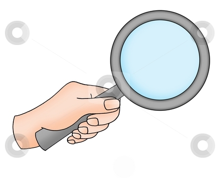Hand with magnifying glass stock photo, Color illustration of hand with magnifying glass. by Klara Viskova