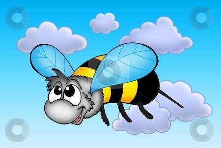 Happy bee stock photo, Happy bee in fly - color illustration. by Klara Viskova