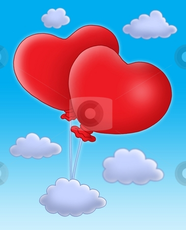 Hearts balloons on blue sky stock photo, Color illustration of two ballons-hearts on blue sky. by Klara Viskova