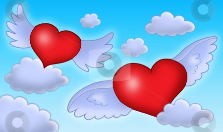 Hearts with wings on blue sky. stock photo, Red hearts with blue wings on blue sky - color illustration. by Klara Viskova