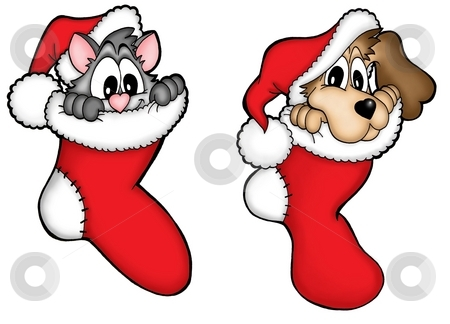Christmas dog and cat stock photo, Christmas dog and cat - color illustration. by Klara Viskova