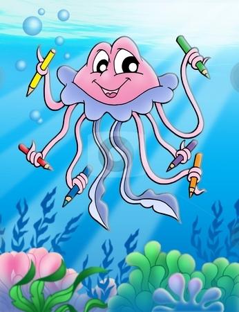 Jellyfish with crayons and bubbles stock photo, Jellyfish with crayons and bubbles - color illustration. by Klara Viskova
