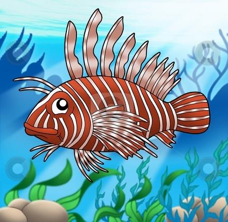 Lionfish in sea stock photo, Lion fish in sea - color illustration. by Klara Viskova