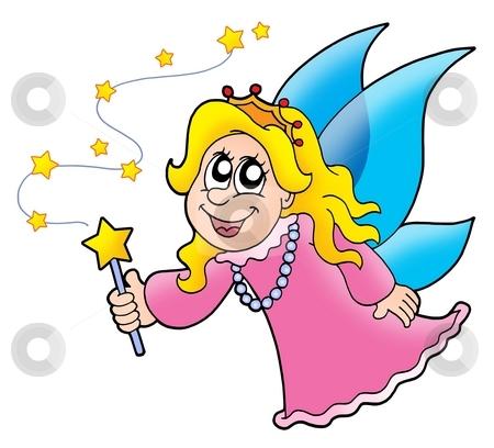 Little fairy stock photo, Little fairy with magic wand - color illustration. by Klara Viskova