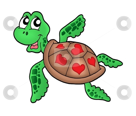 Little sea turtle with hearts stock photo, Little sea turtle with hearts - color illustration. by Klara Viskova
