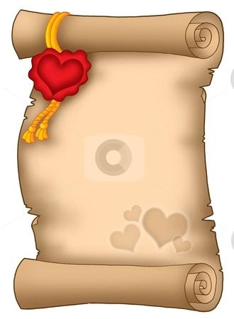 Love parchment stock photo, Color illustration of parchment with heart motives. by Klara Viskova