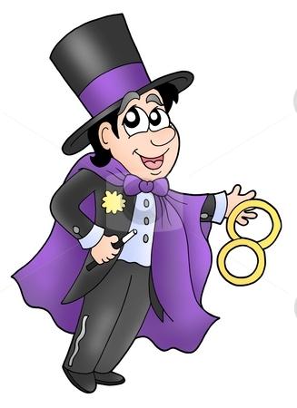 Magician stock photo, Magician showing his art - color illustration. by Klara Viskova