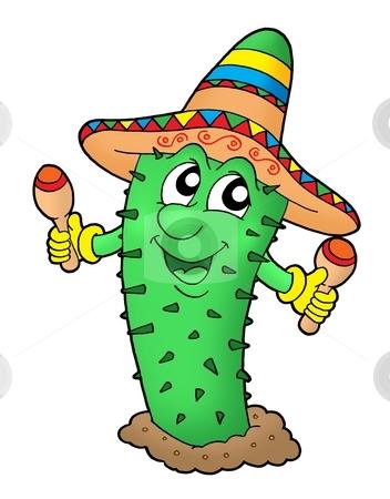 Mexican cactus with somrero stock photo, Mexican cactus with sombrero - color illustration. by Klara Viskova