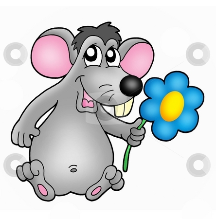 Mouse with flower stock photo, Color illustration of mouse with flower. by Klara Viskova