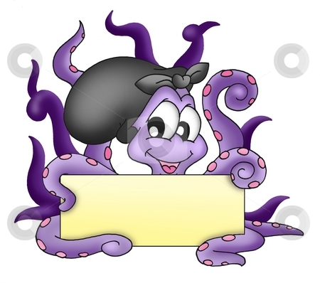 Octopus with text plate stock photo, Octopus with text plate - color illustration. by Klara Viskova