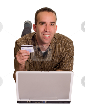 Happy Online Shopper stock photo, A happy online shopper, isolated against a white background by Richard Nelson