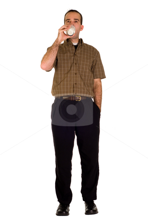 Man Drinking Milk stock photo, Full body view of a man drinking a glass of milk by Richard Nelson