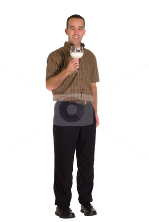 Drinking Milk stock photo, A man drinking some milk out of a wine glass by Richard Nelson