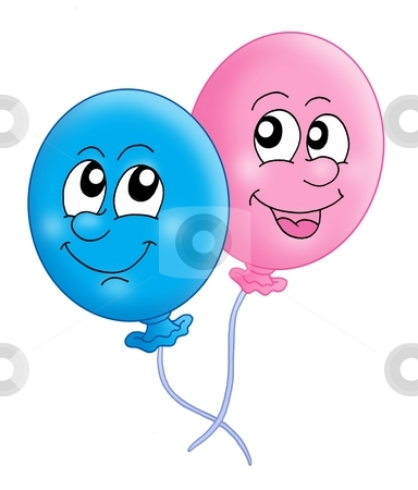 Pair of balloons stock photo, Color illustration of two balloons. by Klara Viskova