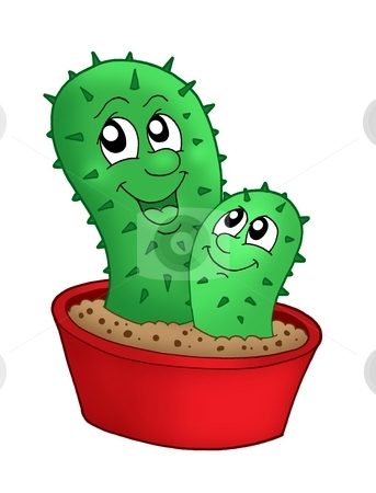 Pair of cactuses stock photo, Pair of cactuses - color illustration. by Klara Viskova