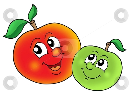 Pair of smiling apples stock photo, Pair of smiling apples - color illustration. by Klara Viskova