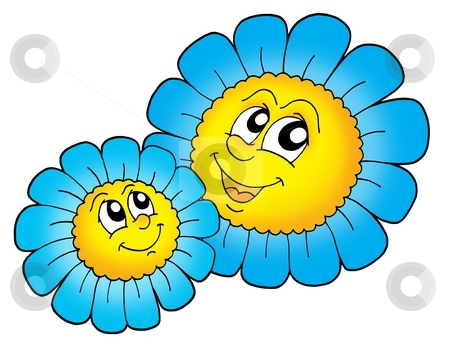 Pair of smilling blue flowers stock photo, Pair of smiling blue flowers - color illustration. by Klara Viskova
