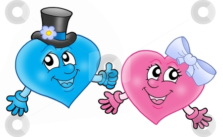 Pair of smiling hearts stock photo, Pair of smiling hearts - color illustration. by Klara Viskova